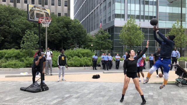 Stephania Ergemlidze Promotes Unity During Philly Protest Using Basketball