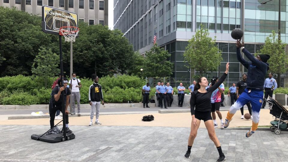 Stephania Ergemlidze Promotes Unity During Philly Protest Using Basketball